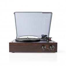 Nedis gramofon 18 W, USB, automatické vypnutí, hnědá