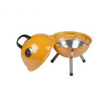 Zahradní kulatý gril na dřevěné uhlí BBQ oranžový (30x46 cm)