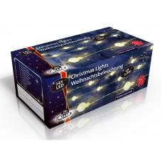 Vánoční světelný řetěz 20x LED sněhové koule, na baterie 3x AA, délka 2.8 m