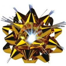 Vánoční dekorace - mašlička,  1x LED, na baterie 3x AG13, světelná vlákna, velikost 9 cm