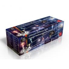 Vánoční vnitřní světelný řetěz 56x LED barevný, na baterie 3x AA, délka 6.5 m