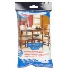 Vlhčené čisticí ubrousky na nábytek 40ks, uzavíratelný pack