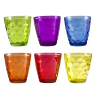 BEPER BI003 sklenice válcová 24cl, mix barev, 6ks v balení, gift box