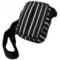 Coverized TAILOR malá brašna na digitální fotoaparát, černá, tenké pruhy