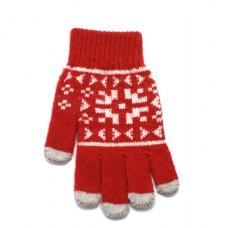 Rukavice iTECH s elektrovodivými konečky 3682 (5 prstů) velikost S/M červené, vzor Claus