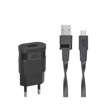 Riva Power 4111 BD1 síťová nabíječka 1.0 A/ 1 USB, černá + micro USB kabel