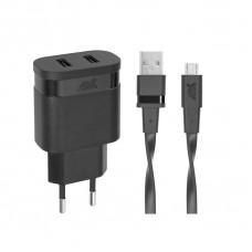 Riva Power 4122 BD1 duální síťová nabíječka 2,4A/ 2 USB, černá + micro USB kabel