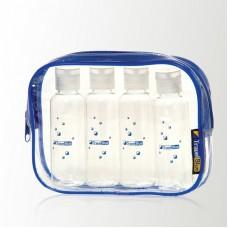 Transparentní cestovní pouzdro se 4 lahvičkami do letadla na kapaliny TBU-352