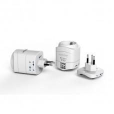 TECH cestovní adaptér pro použití ve Švýcarsku a Lichtenštejnsku s integrovanou 2xUSB nabíječkou