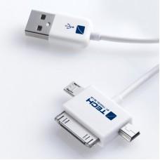 TECH napájecí a datový kabel USB 2.0 A - Apple konektor, micro a mini USB konektory, bílý, 1m
